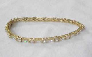 FAS 18K Gold over Sterling Silver Tennis Bracelet Emerald & Round Cut