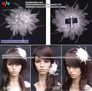 VILY Bridal Hair Clip Fascinator WHITE Feather Flower R