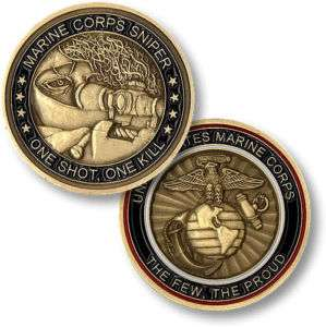 MARINE CORPS SNIPER ONE SHOT ONE KILL CHALLENGE COIN