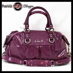 BNWT COACH ASHLEY PATENT LEATHER SATCHEL 15445 PLUM PURPLE PURSE BAG