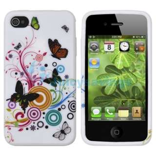 White Flower Silicone Case+Privacy Film for iPhone 4 4G