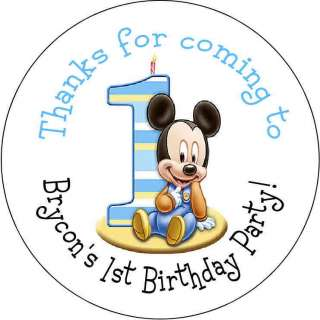 Baby Mickey Mouse Personalized favor stickers personalized Birthday