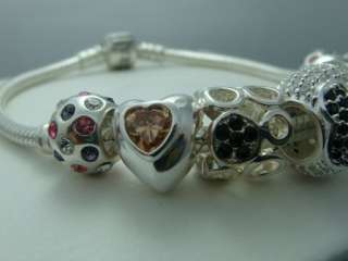 Authentic Pandora Silver Bracelet w Beads & Charms Mother Day I love