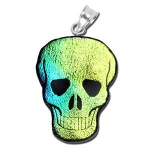 28mm Green Skull Dichroic Glass Pendant Arts, Crafts