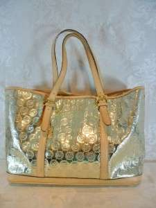 MICHAEL KORS PALE GOLD MIRROR MONOGRAM COATED AMAGANSETT TOTE