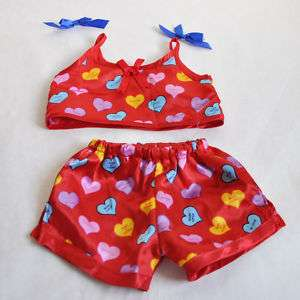 Build a Bear Clothes Candy Heart Red Pajama Set
