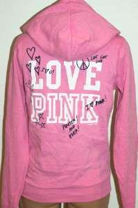 NWT Victorias Secret LOVE PINK Signature Zip Hoodie L