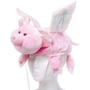 New Stuffed Plush Flying Pink Pig Hat Costume Hog Cap