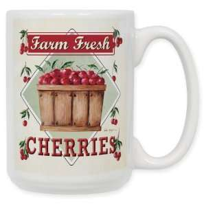 Farm Fresh Cherries 15 Oz. Ceramic Coffee Mug: Kitchen