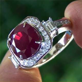 Estate 7.39 ct CERTIFIED Natural Red Ruby & Diamond Vintage Ring 18k