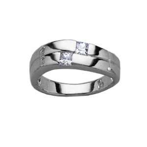 Ladies Sterling Silver Clear Cubic Zirconia wedding Band