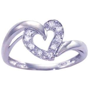 14K White Gold Diamond Free Form Heart Promise Ring