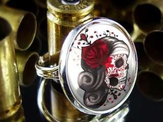 Muertos Tattoo Skull Punk Sterling Silver Adjustable Ring 438 R