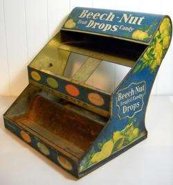 VINTAGE BEECH NUT FRUIT DROPS TIN 2 TIER CANDY COUNTER DISPLAY