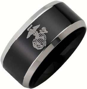 Steel Black Finished US Marine Corps USMC Military Ring