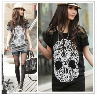 New Japan Korea Women Skull Prints Lace Sleeve Blouses Cool Tops Loose