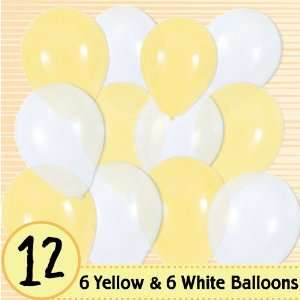 Latex Balloons   6 Yellow & 6 White Baby Shower Balloons: Toys & Games