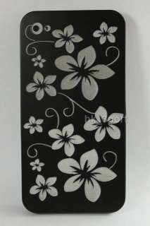 Vintage Style Lovely White Flowers Black Classical hard case For