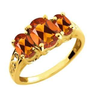 90 Ct Oval Orange Red Madeira Citrine Gold Plated Argentium Silver