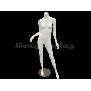 (MD A2BW2) Headless Female Mannequin Matte White Fiber
