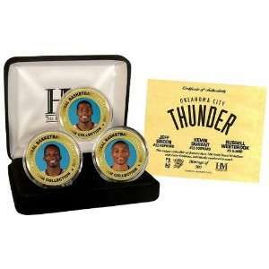 Oklahoma City Thunder 24Kt Gold & Color 3 Coin Set Sports