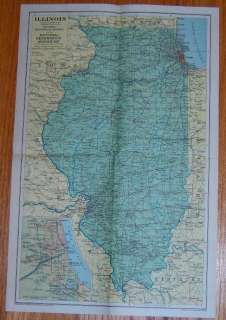 National Geographic MAP of ILLINOIS CHICAGO May 1931