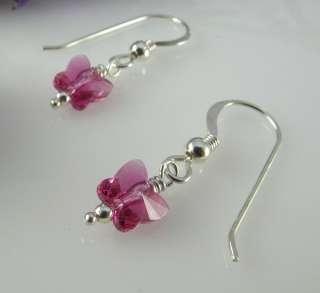 Sterling Silver Butterfly Swarovski Crystal Earrings