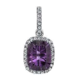 14kt White Gold Diamond and Amethyst Pendant Jewelry