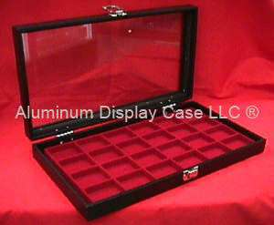 Hinged Glass Top Display Case w/ 24 Square Red Insert