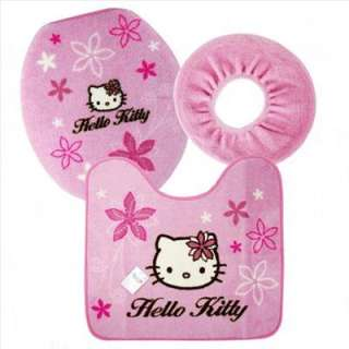 Hello Kitty Bathroom Toilet lid Cover Mat Rug Set New