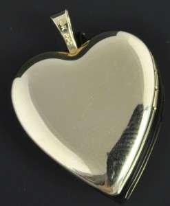 14K Gold Floral Etched Photograph Picture Heart Locket Charm Pendant