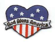 Patriotic/God Bless America Heart Embroid Iron On Patch