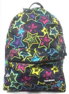 New YAK PAK Big Time Neon Stars Backpack Heavy Nylon Lifetime Warranty