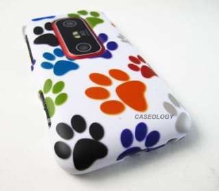 FUNKY COLORFUL PUPPY DOG PAWS HARD CASE COVER SPRINT HTC EVO 3D PHONE