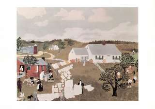 GRANDMA MOSES print hanging out laundry WASH DAY