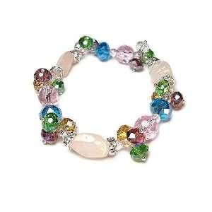 Rose Quartz Gemstones with Multi Colored Crystals Stretch