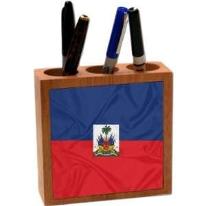 Rikki KnightTM Haiti Flag 5 Inch Tile Maple Finished