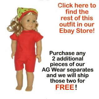 APPLE RED SHORTS FIT AMERICAN GIRL DOLL LANIE~GWEN