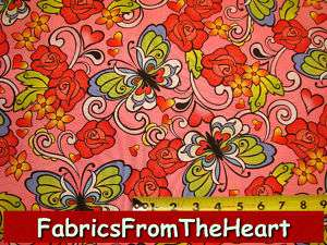 Gypsy Butterflys Rose Flowers on Pink Timeless Treasure 2 Yards Cotton