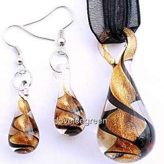 Gold Black Swirl Lampwork Murano Necklace Earrings Set