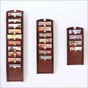 Lesro 4Pocket Wood Front Magazine Rack: Office Products