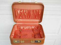 Vintage Brown Vinyl Hard Shell Luggage Suitcase 16x12x6 Clean w/ key