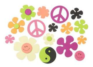 Girl 70s FLOWER POWER PEACE SIGNS FOAM Stickers Scouts
