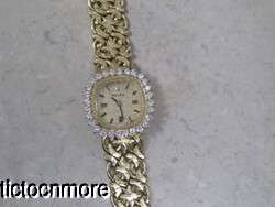 VINTAGE 14k GOLD MONTRES ROLEX 1400 1.40ct DIAMOND BEZEL MANUAL WIND