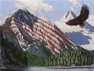 New Horse American Flag Eagle Fabric Panel Patriotic