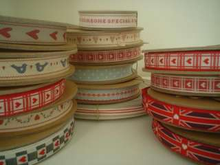 3m roll EAST OF INDIA ♥ BIG & SMALL RED HEART RIBBON