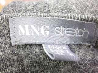 MNG MANGO Gray Wool 3/4 Sleeve Shirt Top Sweater Sz S