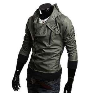 NWT Mens Slim Sexy Motorcycle Hoody Jacket M L XL XXL
