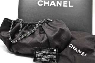 CHANEL Black Satin Evening Bag w/Box Recpt Ribbon Tags Virtually NU