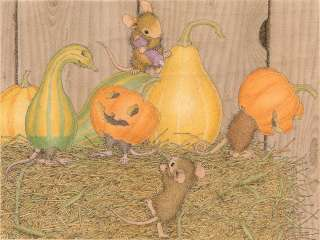 HOUSE MOUSE Wood Mounted Rubber Stamp Fall Hay Day Pumpkins